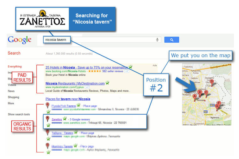 Google map results service
